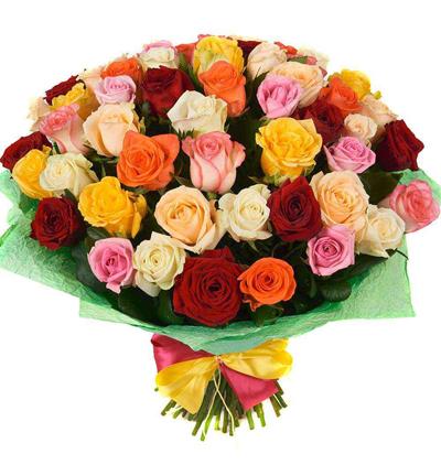 доставка цветов Белек Букет из 51 разноцветные розы