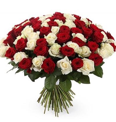 доставка цветов Белек Букет из 101 красной и белой розы