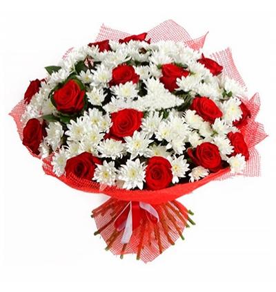 доставка цветов Белек 15 роз и хризантем