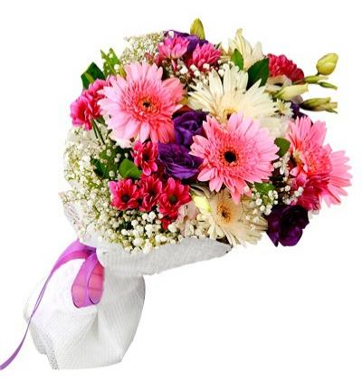 доставка цветов Белек Гербера и Lisyantus Букет