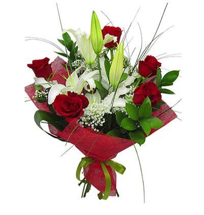 gerbera Çiçeklerinden buket Gül Ve Lilyum Buketi